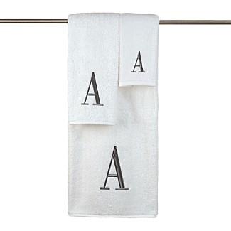 """Avanti """"Monogram Letter"""" Towels, White & Gray"""