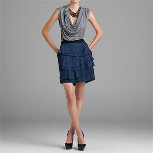 BCBGMAXAZRIA Carbon Woven Ruffle Skirt