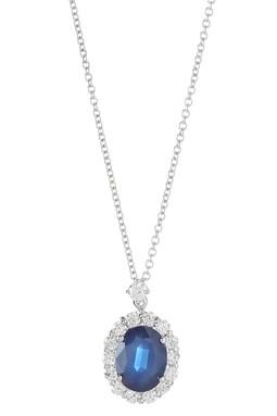 14K White Gold Sapphire & Diamond Oval Pendant Necklace