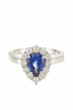 18K White Gold Sapphire & Diamond Pear Ring - Bijoux Couture