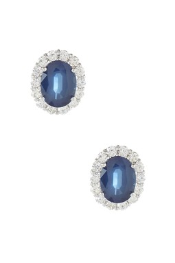 14K White Gold Sapphire & Diamond Oval Stud Earrings- Bijoux Couture