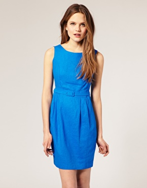 ASOS Tailored Linen Sleeveless Belted Pencil Dress