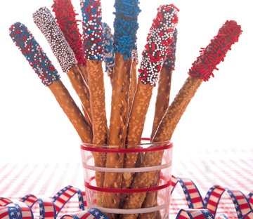 Chocolate Covered Pretzels With Blue/Red Sprinkles