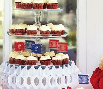 Martha Stewart / Red Velvet Cupcakes with American Flags