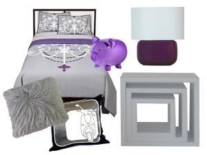 Purple and silver dorm decor