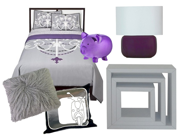 Purple and silver dorm decor