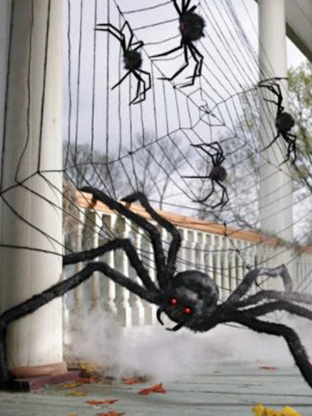 MP Grandin Road Halloween Decor Spiderweb Two Giant Spiders S3x4 Lg