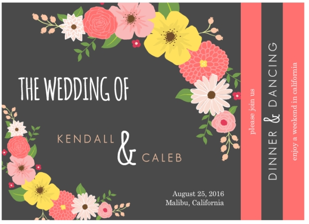 8-paged floral booklet wedding invitation by WeddingPaperie.com.